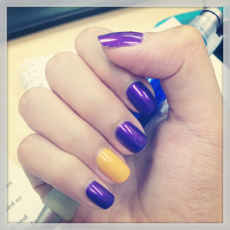 yellow and purple nails