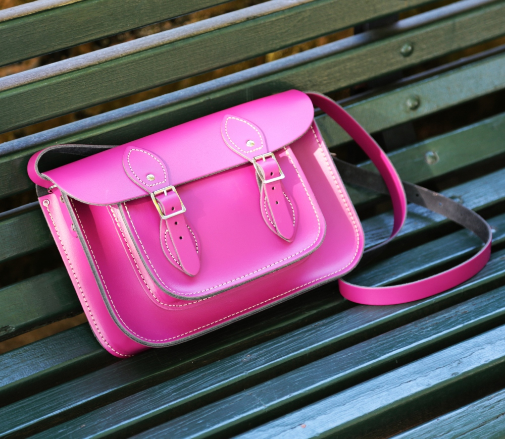 leather satchel in berry