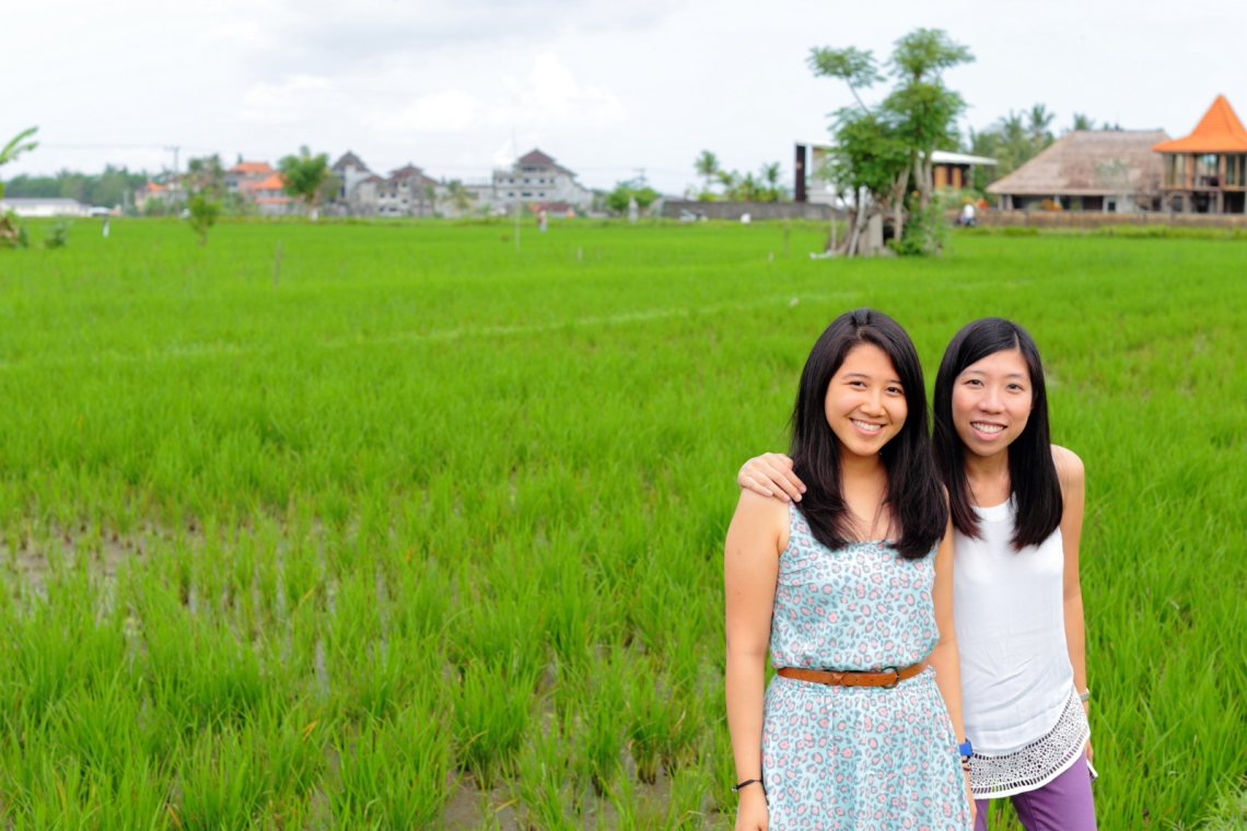 with Vina in a sea of green